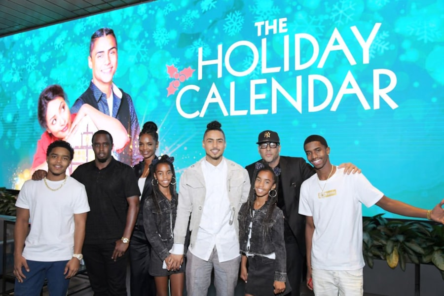 """LOS ANGELES, CALIFORNIA - OCTOBER 30: (l-R) Justin Dior Combs, Sean """"Diddy"""" Combs, Kim Porter, D'Lila Star Combs, Jessie James Combs, Quincy Brown, Al B. Sure! and  Christian Casey Combs attend """"The Holiday Calendar"""" Special Screening Los Angeles at NETFLIX Icon Building on October 30, 2018 in Los Angeles, California. (Photo by Charley Gallay/Getty Images for Netflix)"""