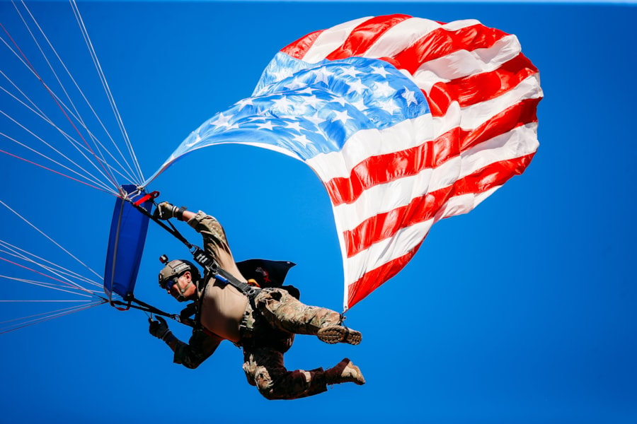FORT BRAGG, NC - MAY 13:  George H.W. Bush, 41st President of the United States, speaks at the Brigadier General Joseph Stilwell Headquarters dedication ceremony May 13, 2004 in Fort Bragg, North Carolina. The headquarters contains history awards and exhibits on the Golden Knights, the U.S. Army Parachute Team.  (Photo by Logan Mock-Bunting/Getty Images)