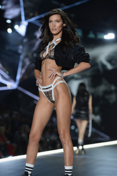 NEW YORK, NEW YORK - NOVEMBER 08: Bella Hadid walks the runway during the 2018 Victoria's Secret Fashion Show at Pier 94 on November 08, 2018 in New York City. (Photo by Noam Galai/Getty Images)