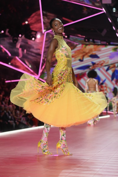 NEW YORK, NEW YORK - NOVEMBER 08: Mayowa Nicholas walks the runway during the 2018 Victoria's Secret Fashion Show at Pier 94 on November 08, 2018 in New York City. (Photo by Noam Galai/Getty Images)