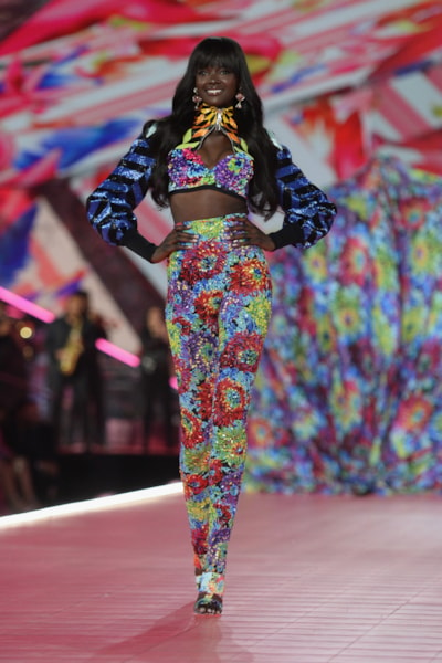 NEW YORK, NEW YORK - NOVEMBER 08: Duckie Thot walks the runway during the 2018 Victoria's Secret Fashion Show at Pier 94 on November 08, 2018 in New York City. (Photo by Noam Galai/Getty Images)