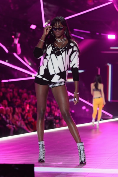 NEW YORK, NEW YORK - NOVEMBER 08: Zuri Tibby walks the runway during the 2018 Victoria's Secret Fashion Show at Pier 94 on November 08, 2018 in New York City. (Photo by Noam Galai/Getty Images)