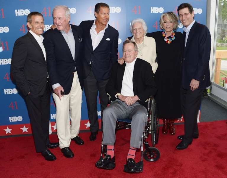 """KENNEBUNKPORT, ME - JUNE 12:  (L-R) President of HBO Programming Michael Lombardo, Executive Producer Jerry Weintraub, HBO Co-President Richard Plepler, Film Subject President George H.W. Bush, his wife Mrs. Barbara Bush, President of HBO Films Sheila Nevins, and HBO Co-President Eric Kessler attend the HBO Documentary special screening of """"41"""" on June 12, 2012 in Kennebunkport, Maine.  (Photo by Michael Loccisano/Getty Images for HBO)"""