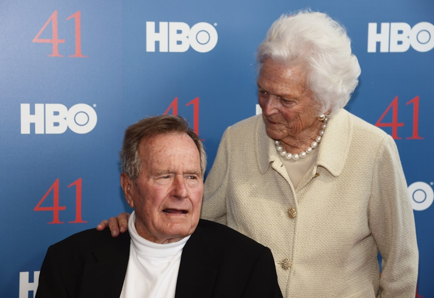 """KENNEBUNKPORT, ME - JUNE 12:  Film Subject President George H.W. Bush and his wife, Mrs. Barbara Bush attend the HBO Documentary special screening of """"41"""" on June 12, 2012 in Kennebunkport, Maine.  (Photo by Michael Loccisano/Getty Images for HBO)"""