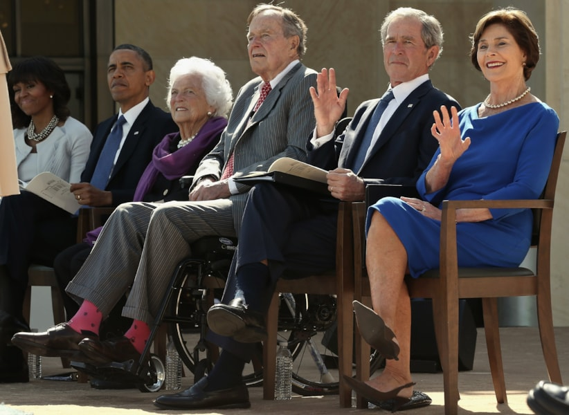DALLAS, TX - APRIL 25:  (L-R) First lady Michelle Obama, U.S. President Barack Obama, former first lady Barbara Bush, former President George H.W. Bush, former President George W. Bush and former first lady Laura Bush attend the opening ceremony of the George W. Bush Presidential Center April 25, 2013 in Dallas, Texas. The Bush library, which is located on the campus of Southern Methodist University, with more than 70 million pages of paper records, 43,000 artifacts, 200 million emails and four million digital photographs, will be opened to the public on May 1, 2013. The library is the 13th presidential library in the National Archives and Records Administration system.  (Photo by Alex Wong/Getty Images)