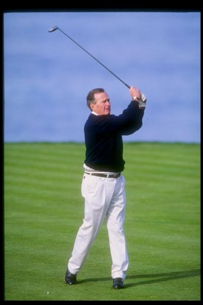 3 Feb 1994:  President George Bush looks on during the AT&T Pebble Beach Pro-Am in Monterrey, California. Mandatory Credit: Gary Newkirk  /Allsport