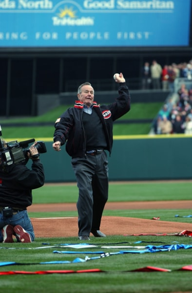 CINCINNATI - MARCH 31:  Former President George Herbert Walker Bush throws out the ceremonial first pitch prior to the opening day game between the Pittsburgh Pirates and the Cincinnati Reds at Great American Ball Park on March 31, 2003 in Cincinnati, Ohio. The Pirates defeated the Reds 10-1. (Photo by Jonathan Daniel/Getty Images)