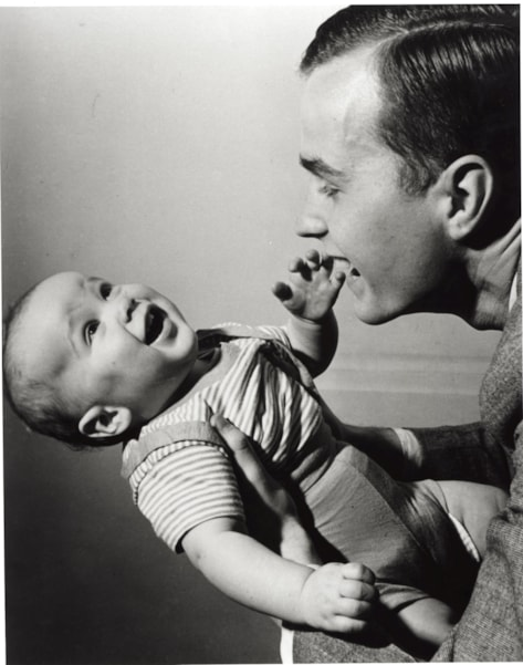 374942 03: (FILE PHOTO) George Bush Sr. holds a young George W. in New Haven, CT. April 1947. George W. Bush is currently campaigning for the Republican party for the presidential election in November 2000. (Photo by Newsmakers)