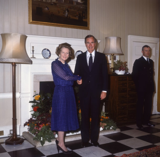 British Prime Minister Margaret Thatcher with U.S. Vice-President George Bush at 10 Downing Street, London, 3rd July 1985. (Photo by Fox Photos/Hulton Archive/Getty Images)