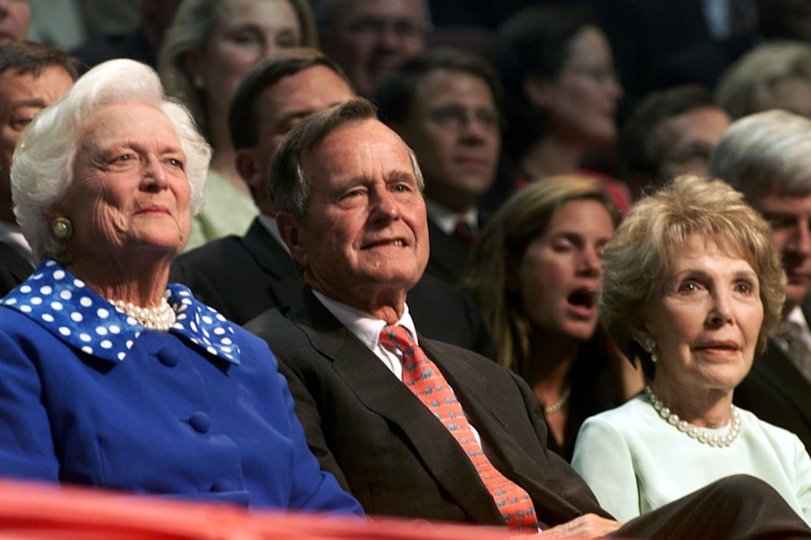 374855 07: Barbara Bush, George Bush and Nancy Reagan listen to speakers during the second day of the Republican National Convention, August 1, 2000 in Philadelphia. (Photo by Mark Wilson/Newsmakers)