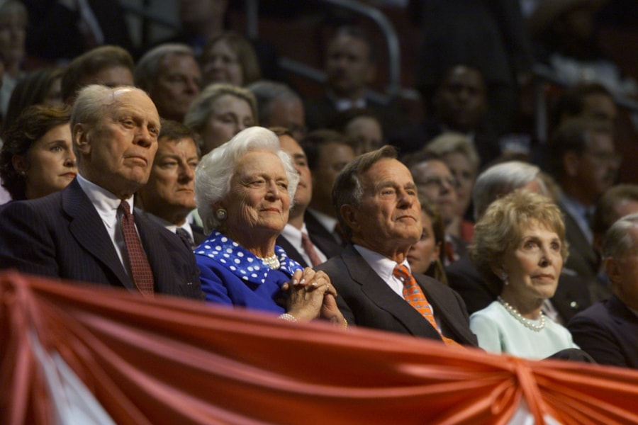 374855 09: Gerald Ford, Barbara Bush, George Bush and Nancy Reagan listen to speakers during the second day of the Republican National Convention, August 1, 2000 in Philadelphia. (Photo by Mark Wilson/Newsmakers)