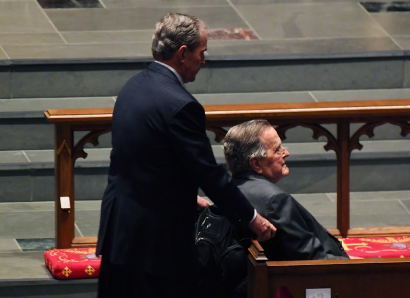 HOUSTON, TX - APRIL 21: Former Presidents George W. Bush and George H.W. Bush arrive during the funeral for former First Lady Barbara Bush at St. Martin's Episcopal Church April 21, 2018 in Houston, Texas. Bush, wife of former president George H. W. Bush and mother of former president George W. Bush, died at her home in Houston on April 17 at the age of 92.  (Photo by Jack Gruber-Pool/Getty Images)