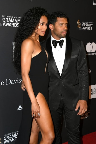 BEVERLY HILLS, CA - FEBRUARY 09:  Ciara (L) and Russell Wilson attend The Recording Academy And Clive Davis' 2019 Pre-GRAMMY Gala at The Beverly Hilton Hotel on February 9, 2019 in Beverly Hills, California.  (Photo by Jon Kopaloff/Getty Images)