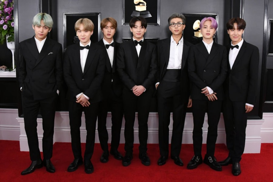 LOS ANGELES, CALIFORNIA - FEBRUARY 10: BTS attends the 61st Annual GRAMMY Awards at Staples Center on February 10, 2019 in Los Angeles, California. (Photo by Jon Kopaloff/Getty Images)