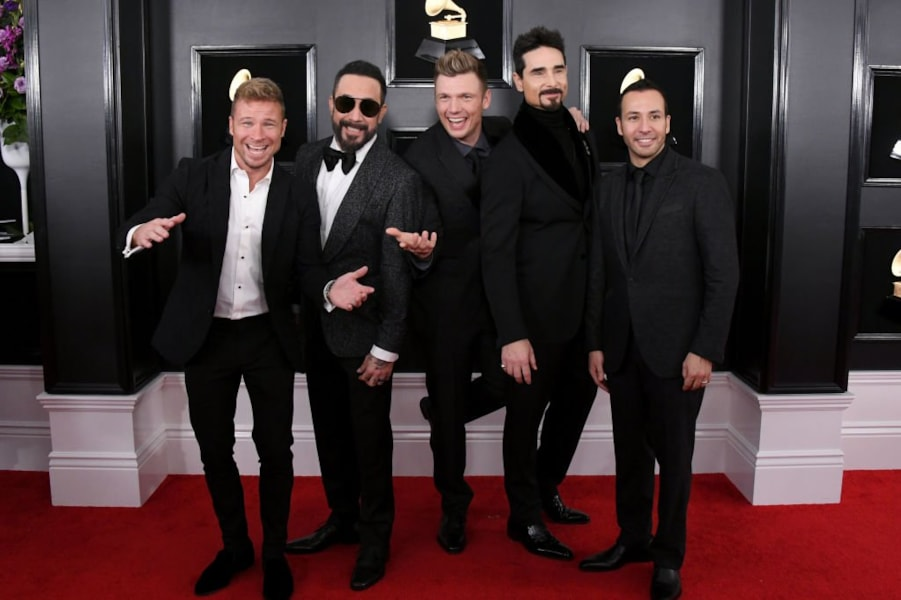 LOS ANGELES, CALIFORNIA - FEBRUARY 10: (L-R) Brian Littrell, AJ McLean, Nick Carter, Kevin Richardson, and Howie Dorough of Backstreet Boys attend the 61st Annual GRAMMY Awards at Staples Center on February 10, 2019 in Los Angeles, California. (Photo by Jon Kopaloff/Getty Images)